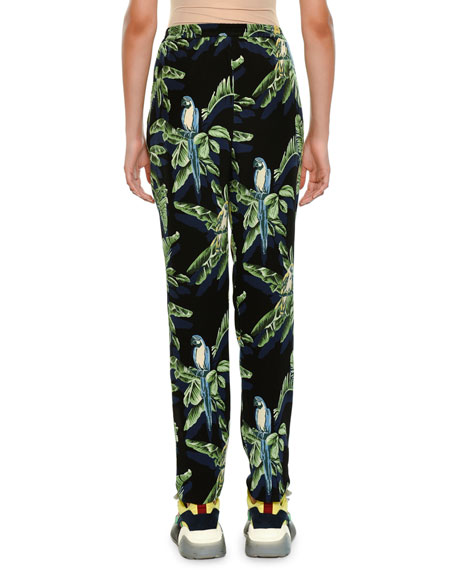 Tropical-Print Skinny Pants
