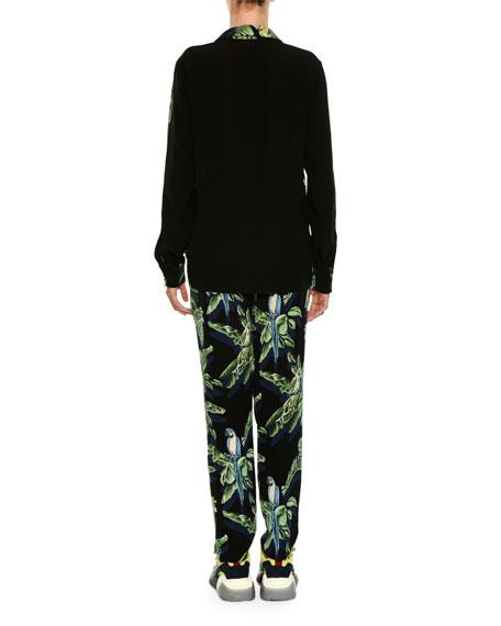 Tropical-Print Silk Blouse