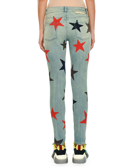 Star-Print Skinny Jeans