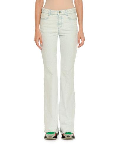 Frayed Light-Wash Denim Jeans
