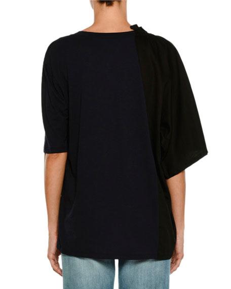 Scoop-Neck Poplin T-Shirt