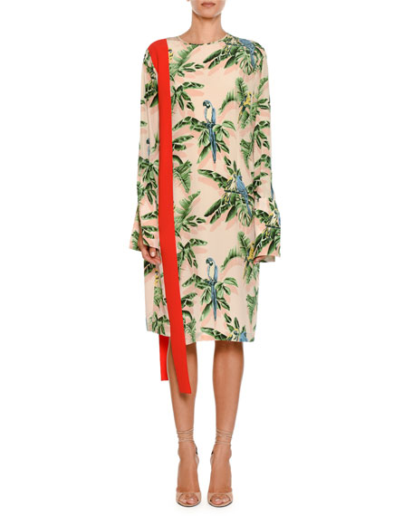 Birds Of Paradise-Print Silk Dress, Pink Pattern
