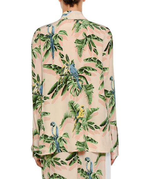 Tropical-Print Silk Blouse