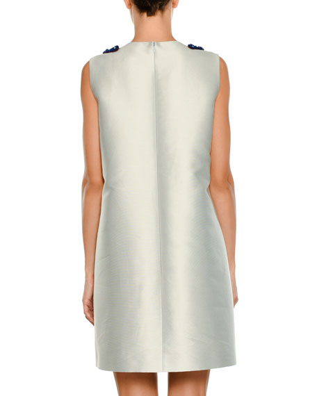 Sleeveless Embellished Sateen Shift Dress
