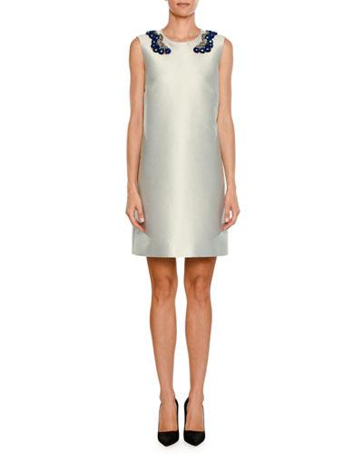 Sleeveless Embellished Sateen Shift Dress