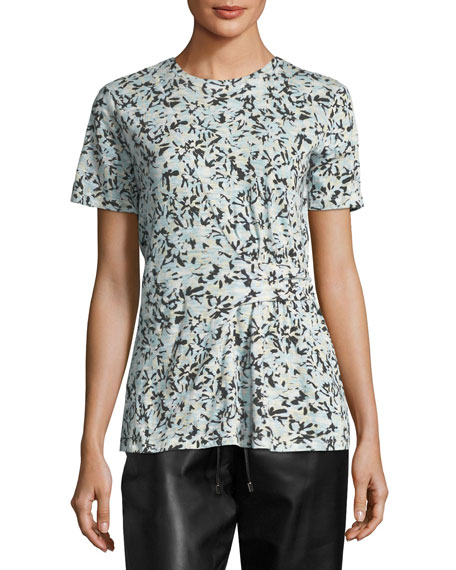Side-Cinched Floral-Print T-Shirt