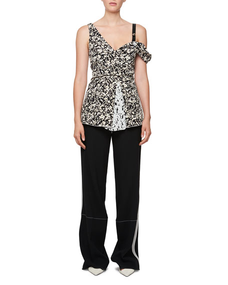 Asymmetric Flower-Print Silk Top