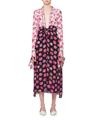 Floral-Print Long-Sleeve Midi Dress