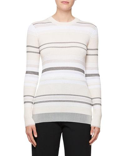 Long-Sleeve Stripe Ribbed Sweater