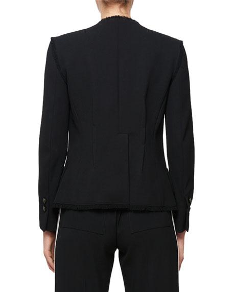Asymmetric 1-Button Raw-Edge Blazer Jacket