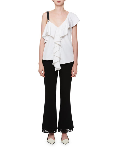 Asymmetric Ruffled Crepe Top