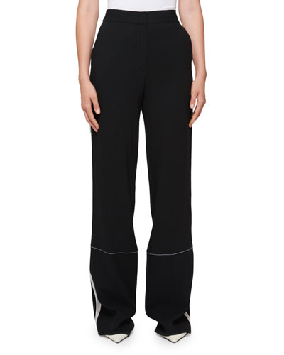 High-Waist Wide-Leg Pants with Stitching Detail
