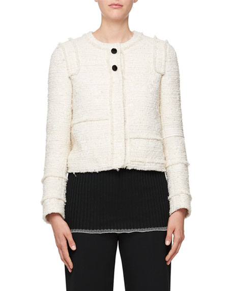 Boucle Button-Front Jacket