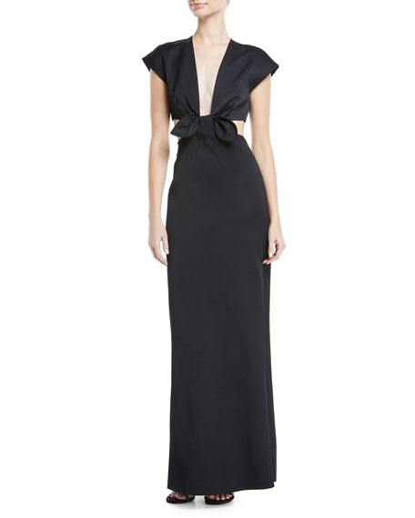 Cutout Tie-Front Gown