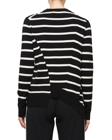 Long-Sleeve Stripe Asymmetric Sweater, Black/White