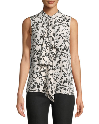 Sleeveless Button-Front Ruffled Floral-Print Silk Blouse