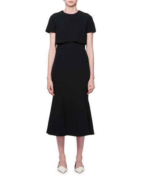 Short-Sleeve Midi Dress w/ Tee Detail