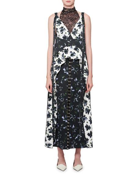 Floral-Print Mock-Neck Midi Dress