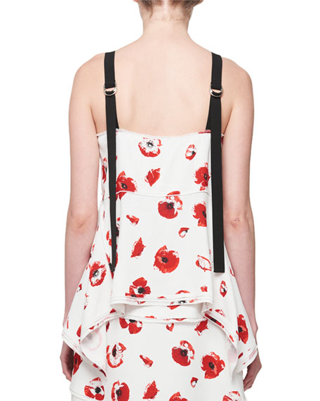 Poppy-Print Hook-Front Camisole Top