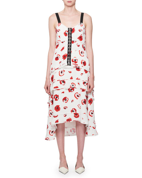 Sleeveless Poppy-Print Midi Dress