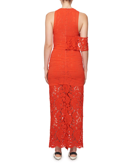 Asymmetric Ruffled Lace Gown