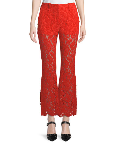 Floral-Lace Flared Pants