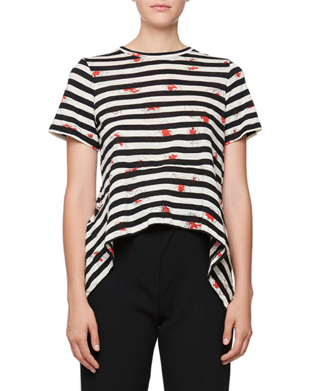 Short-Sleeve Striped Poppy-Print Tee