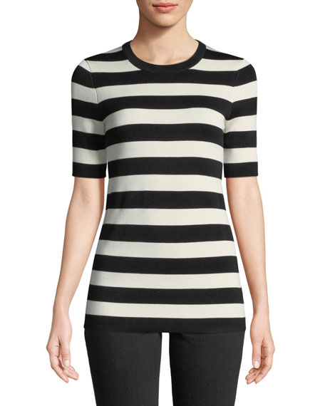Crewneck Short-Sleeve Striped Knit Tee