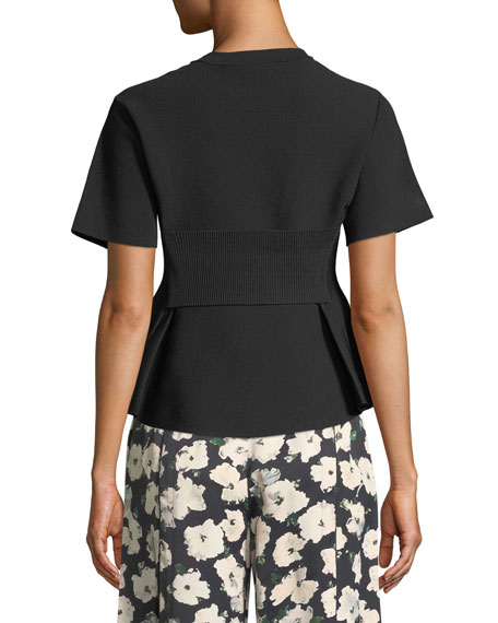 Cinched-Back Short-Sleeve Peplum Top
