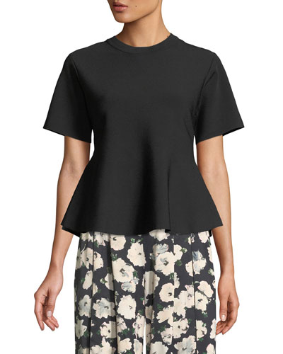 Cinched-Back Short-Sleeve Peplum Top