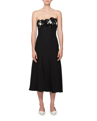 Embroidered Strapless Midi Dress