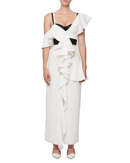 One-Shoulder Ruffle Long Dress