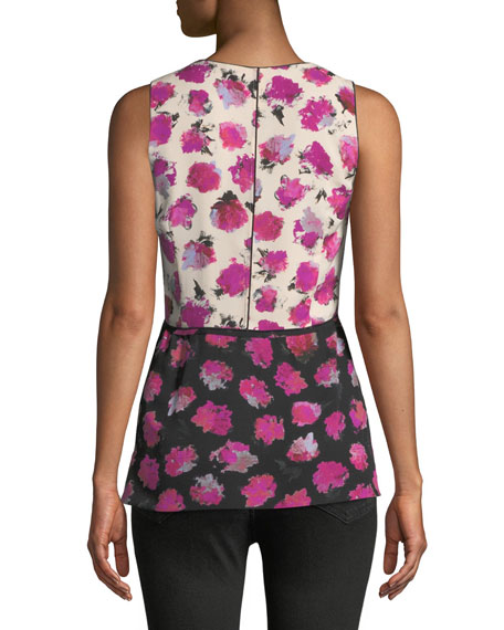 Sleeveless Floral-Print Silk Top