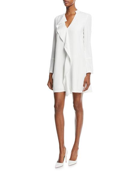 Ruffle-Front Long-Sleeve Dress