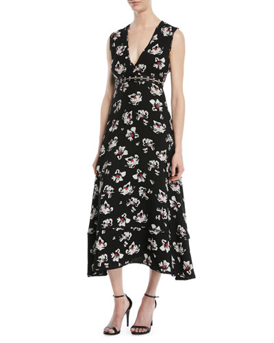V-Neck Sleeveless Floral-Print Fit-and-Flare Midi Dress