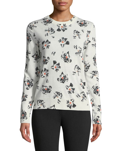 Floral Knit Crewneck Sweater