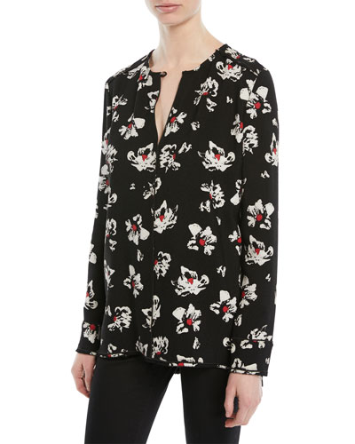 Split-Neck Long-Sleeve Floral-Print Blouse
