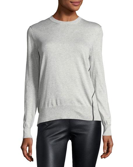 Side-Striped Crewneck Sweater