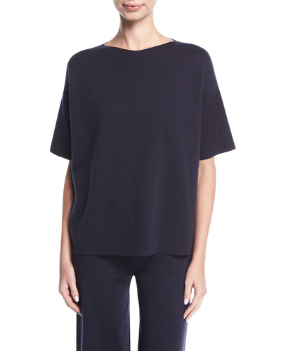 Short-Sleeve Merino Wool Sweater
