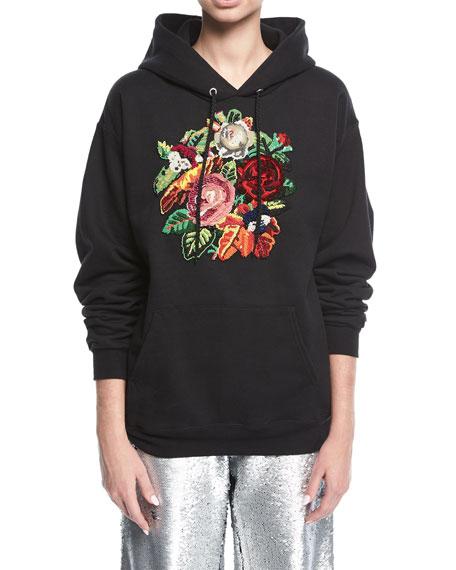 Floral Beaded Hoodie Sweatshirt