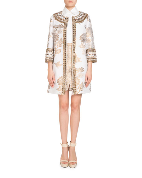 Metallic Jacquard 3/4-Sleeve Coat