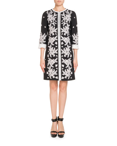 Embroidered 3/4-Sleeve Coat