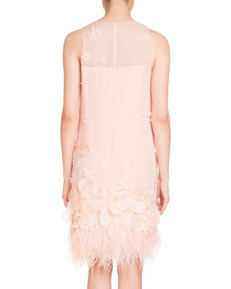 Sleeveless Organza Feather-Trim Dress