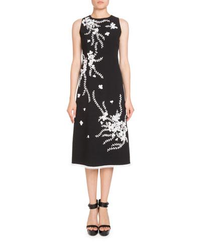 Sleeveless Embroidered Midi Dress