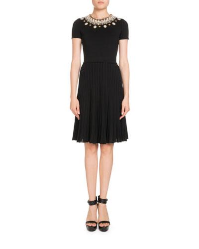 Beaded Knit Short-Sleeve Dress