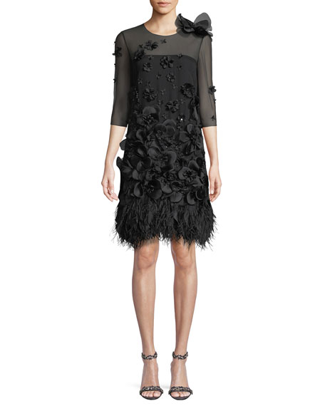 Sleeveless Organza Dress with Floral Appliques & Feather Trim