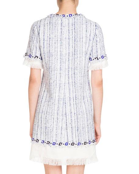 Fringed Short-Sleeve Tweed Dress