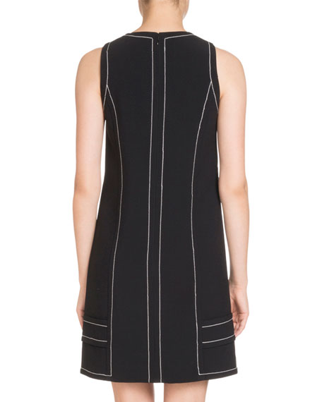 Sleeveless Button-Trim Shift Dress