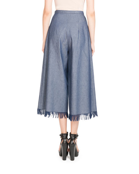Wide-Leg Fringed Denim Pants