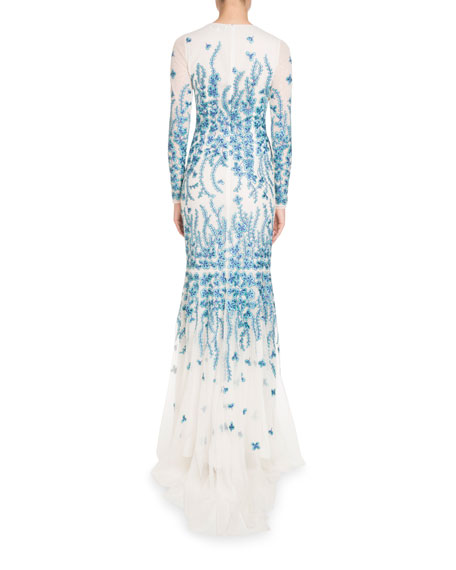 Threadwork Long-Sleeve Mermaid Gown